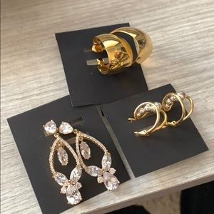 3 Pair Gold Clip on earrings / Napier, NWH